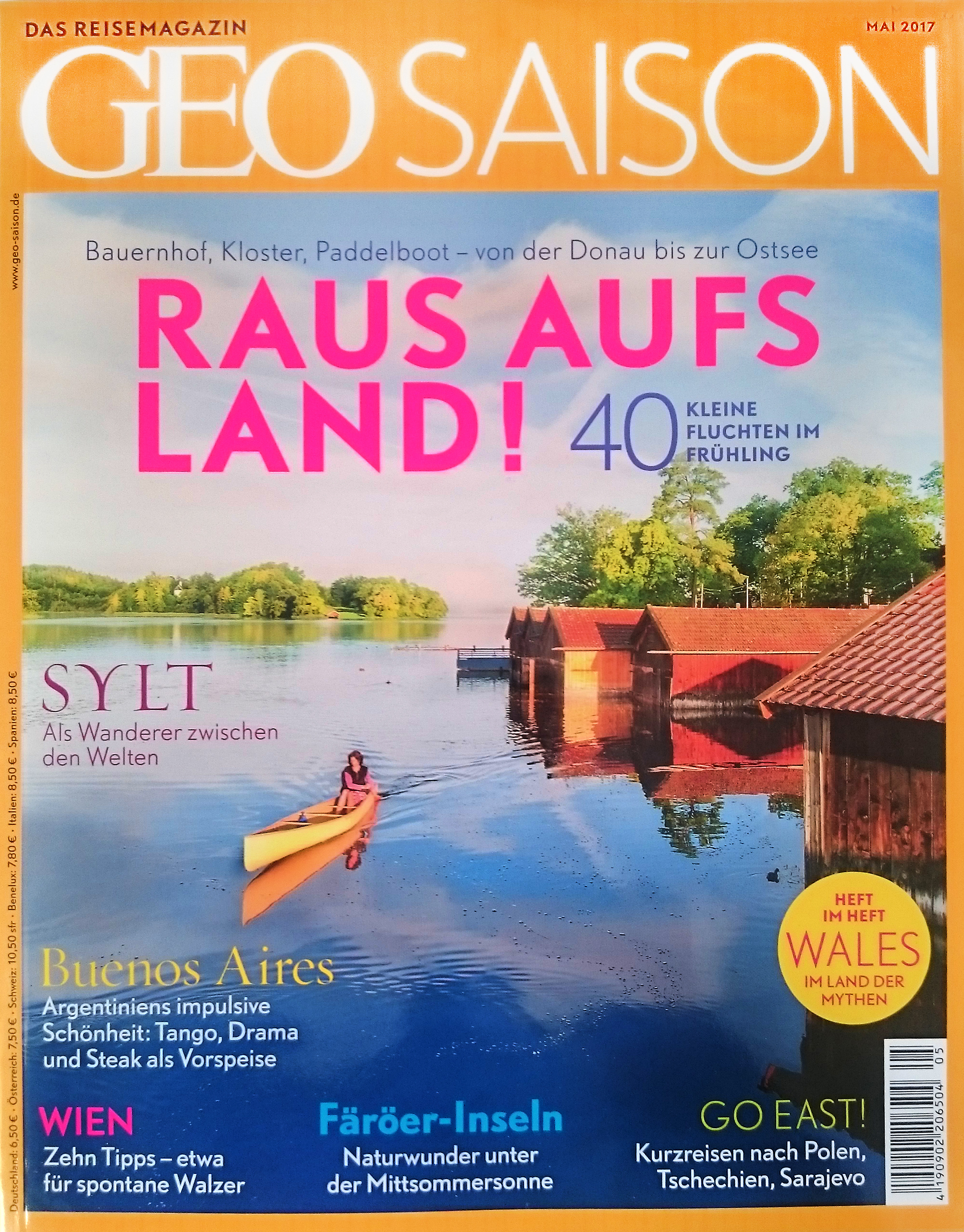 Cover for German Travel Magazine Geo Saison