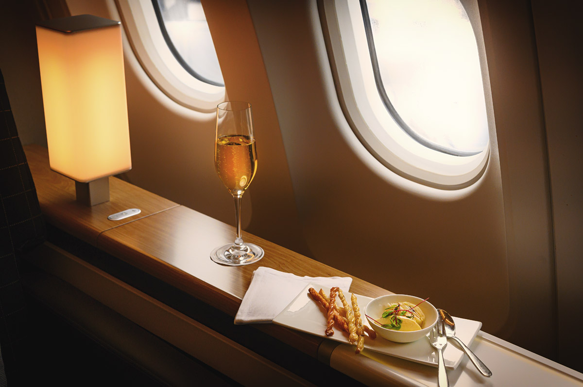 Swiss Airlines, First Class, food