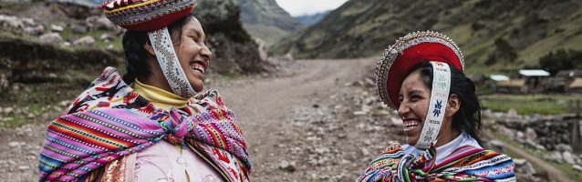Two women laughing, Peru, Andes.